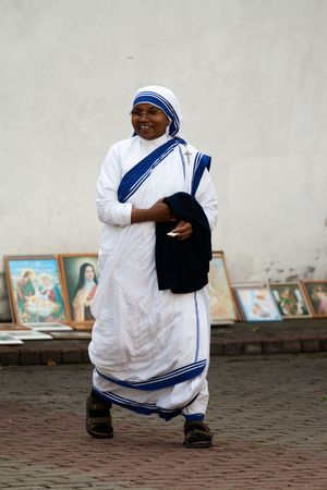 AGLONA, LATVIA - AUGUST 15: Sister of Missionaries of Charity at the celebration of the Assumption of the Virgin Mary in Aglona, Latvia, August 15, 2008. Editorial