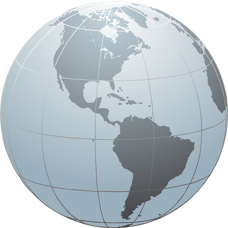 Hand drawn vector globe with South and North America