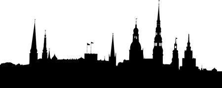 Vector illustratie van Riga oude stad panorama silhouet.