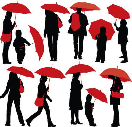 Ensemble de silhouettes de vecteur des personnes atteintes de parapluie rouge Illustration