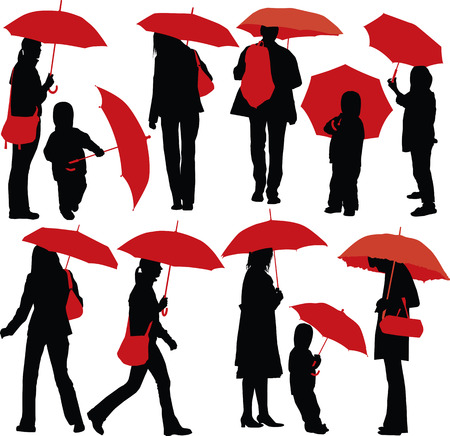 Set of vector silhouettes of people with red umbrella