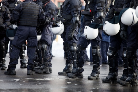 police force: Riot Police unit waiting for orders