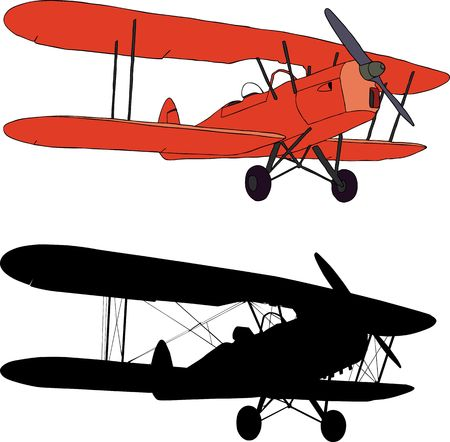 propeller: illustration and silhouette of an old biplane