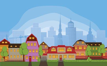 row of houses: Fila de casas en el distrito de barrio tranquilo de la gran ciudad ocupada Vectores