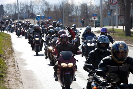gang: RIGA - April 24: Motorcycle Season opening parade with thousands of participants. April 24, 2010, Riga, Latvia. Editorial