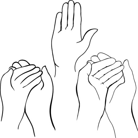 begging: drawing of hands holding something