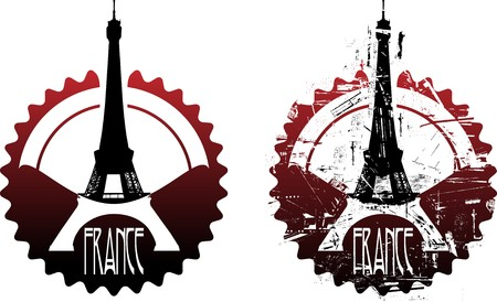 Paris rubber stamp with Eiffel tower. Grunge and clean versions Vector