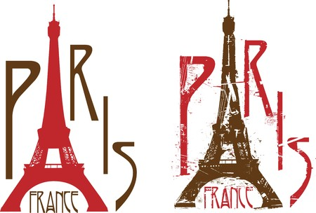 Paris sign with Eiffel tower as letter A. Grunge and clean versions Stock Vector - 6971618