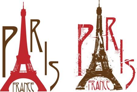 Signe de Paris avec Eiffel tour sous la lettre a. Grunge et nettoyer les versions Illustration