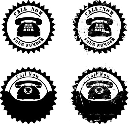 Call Now rubber stamp illustration Vectores