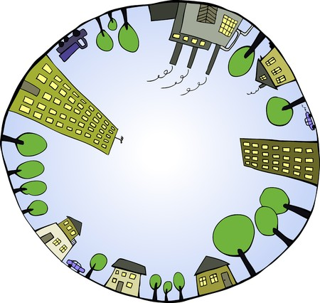 residential neighborhood: Global world as closed ecological system. illustration
