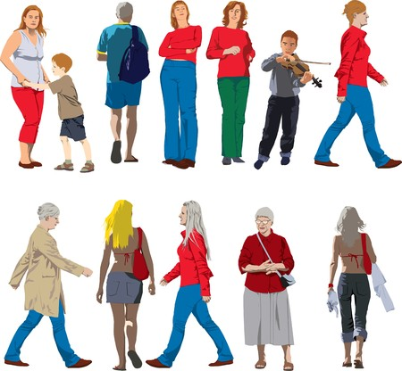 many people: Set of colour drawings of woman, child, and man