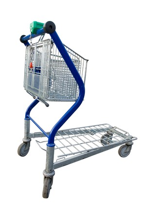 Empty shopping cart in a store parking lot  Stock Photo - 7075346