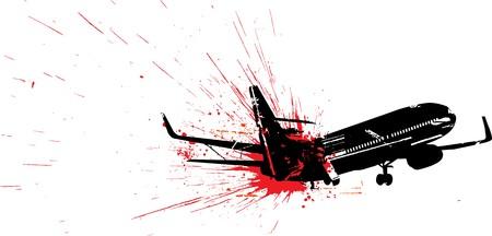 terrorists: Illustrazione di passeggeri aerei piano crash  Vettoriali