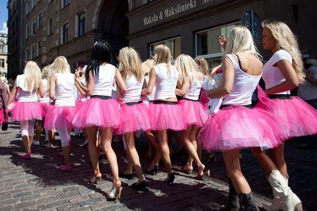 latvia girls: RIGA, LATVIA - MAY 23: Many beautiful girls at Go Blonde parade Organized by the Latvian Association of Blonds in May 29, 2010, Riga.
