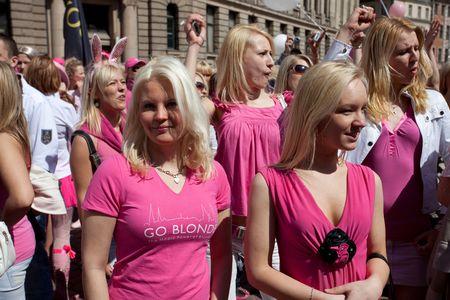 latvia girls: RIGA, LATVIA - MAY 23: Many beautiful girls and women at Go Blonde parade Organized by the Latvian Association of Blonds in May 29, 2010, Riga.