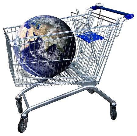 Shopping trolley with earth globe isolated on white  photo