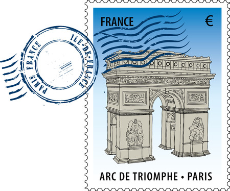 Postmark with sight of The Arc de Triomphe (Arch of Triumph) Vector