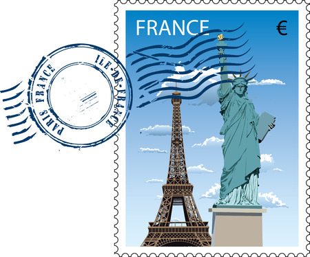 postal stamp: Postmark with sight of eiffel tower and Statue of Liberty