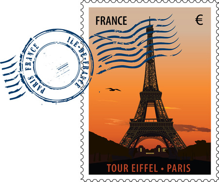 eiffel tower: Postmark con de la torre de eiffel vista al atardecer