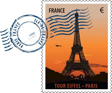 postmark: Poststempel mit Anblick der Eiffelturm bei Sonnenuntergang  Illustration
