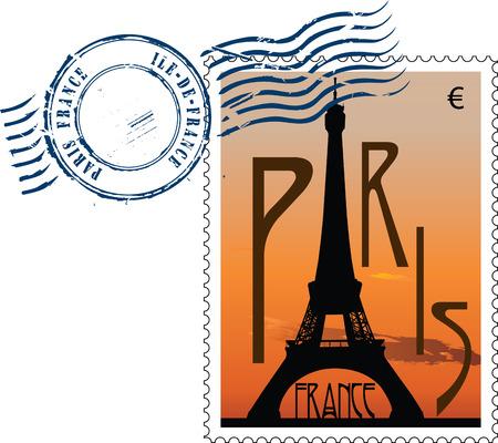 Postmark en vue de la tour eiffel au coucher du soleil