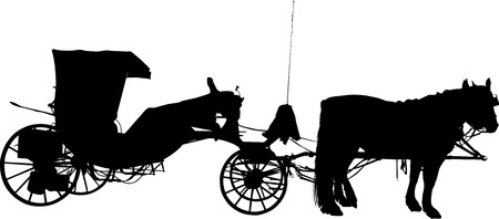 old horse: Silhouette of Old horse coach
