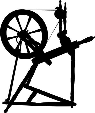Silhouet van antieke spinne wiel Stock Illustratie