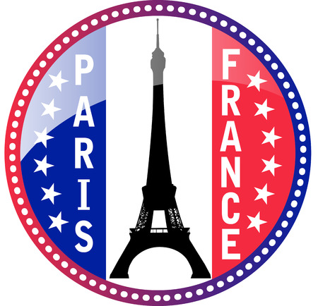 Paris, Flag of France and Eiffel tower glossy button