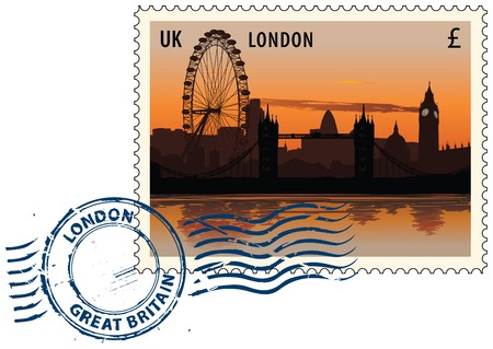 Postmark with night sight of London cityscape Vector