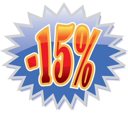 15: Blue discount label with red -15% Illustration