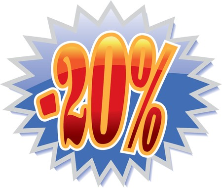 Blue discount label with red -20% Vector