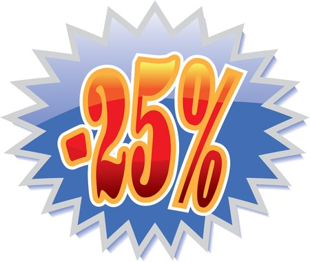 Blue discount label with red -25% Vector