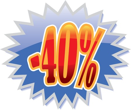 40: Blue discount label with red -40%
