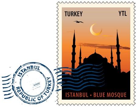 sello postal: Postmark con vista de noche de la mezquita o la mezquita azul de Estambul contra el cielo sunset
