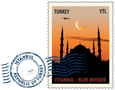 postage stamp: Postmark with night sight of  the Sultan Ahmed Mosque or Blue Mosque in Istanbul against sunset sky