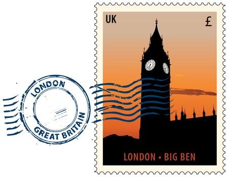 Postmark con vista de noche de torre del Big Ben de Londres  Ilustración de vector