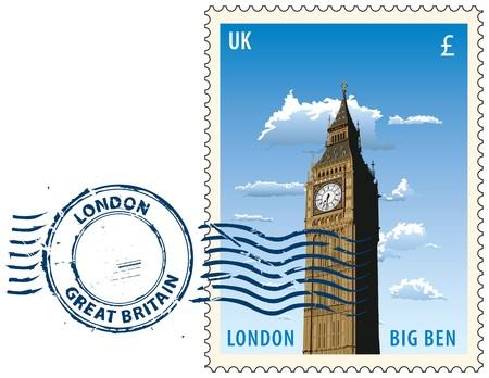 Postmark avec vue de nuit de la tour de Londres Big Ben