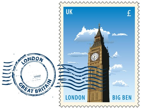 Postmark with night sight of London Big Ben tower Illustration