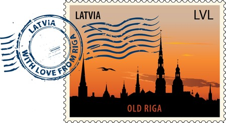 the postmark: Postmark with night sight of Old Riga cityscape Illustration