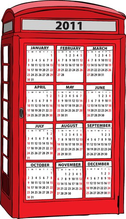 phonebooth:  calendar of 2011 in British red phone booth in London