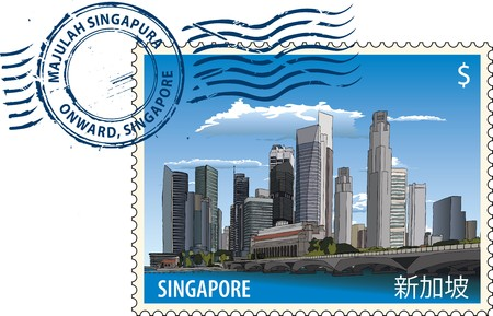 Postmark with Singapore cityscape Stock Vector - 7545094