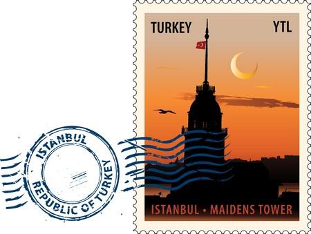 Postmark con vista de noche de la torre doncellas en Estambul contra el cielo sunset  Ilustración de vector