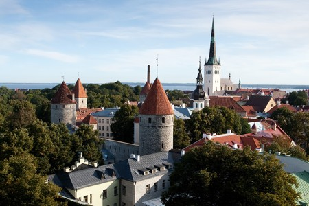 Panoramic view of old city of Tallinn, Estonia photo