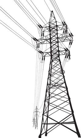 hoogspanningsmasten: silhouet van hoogspannings stroom lijnen en pyloon Stock Illustratie