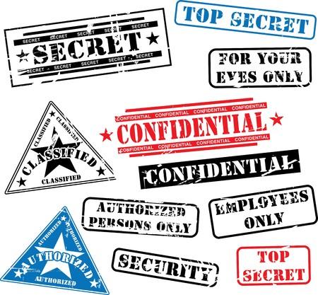 Divers timbres de caoutchouc de sécurité (top secret, confidentielles etc..)