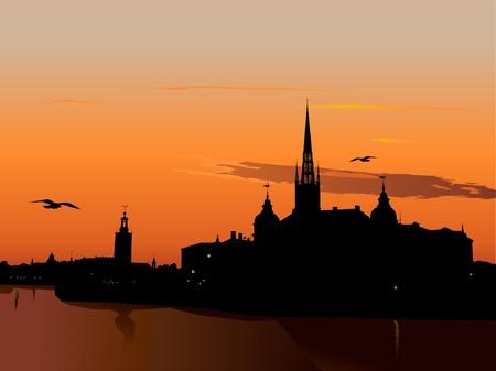 Silhouet van Stockholm bij zons ondergang, het stadshuis, Riddarholm kathedraal. Zweden Stock Illustratie