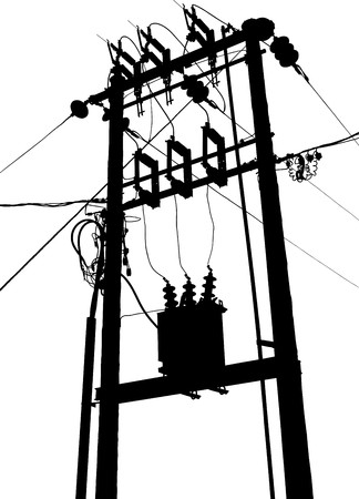 powerline: Vector silhouette of small electric transformer substation