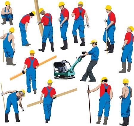 Team van werknemers in de bouw in blauwe werkkleding een gele helmen.