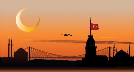 turkey istanbul: Silhouette di vettore di paesaggio urbano di Istanbul contro il cielo tramonto